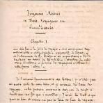 """Vernes håndskrevne manus til """"Lystig Misere"""""""
