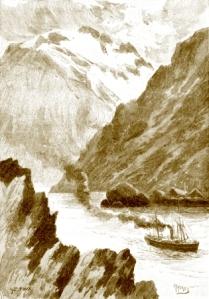 """Ruteskipet """"Viken"""" i vestlandsfjord, Norge"""
