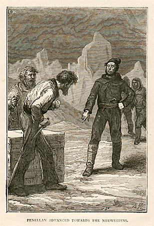 "Nordmenn med kniv - ""Overvintring i isen"", 1855"