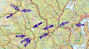 Stedsnavn fra de franske reisetekstene - mellom Rjukan og Christiania