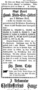 Lotteri i Drammens Tidende, mandag 25. juli 1861