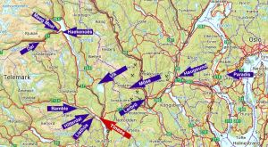 French versions of Norwegian geographical names between Rjukan and Oslo