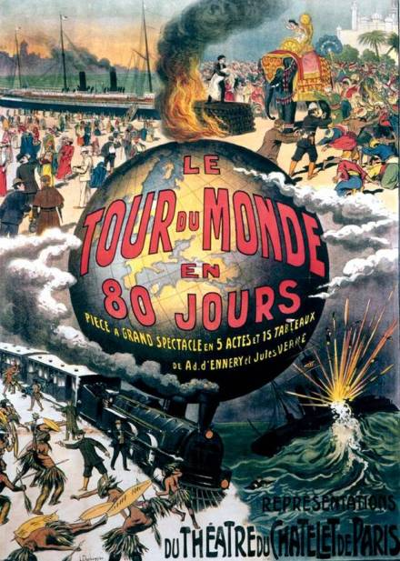 "Teaterplakat, Paris 1874  ""Le Tour du Monde en 80 Jours"""